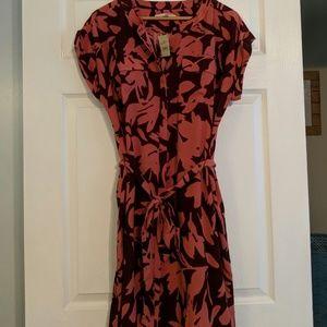 LOFT button-up dress with tie waist